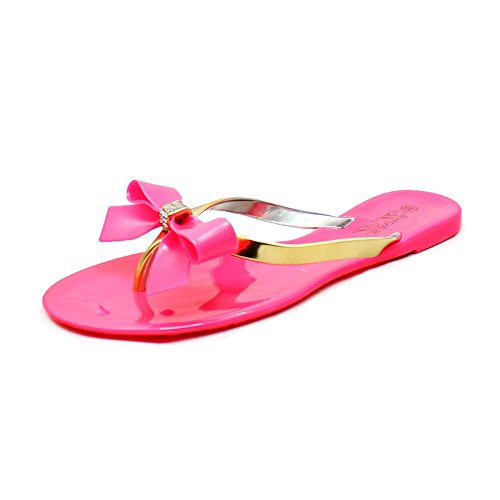 Ladies Jelly Sandals / Tongs avec diamante Bow pink