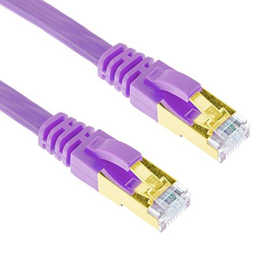 5m Violet Cat7 LAN Kabel Ethernet Flachkabel G-Shield Hochgeschwindigkeits Netzwerkkabel Geschirmt RJ45 LAN Patch Kabel für Heim und Büro-Netzwerke Vergoldet 10Gbps 600mHz - 5 Meter Lila