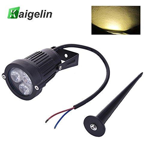 Yard Lampe 9W LED Cast Licht Rasen Lampe 3 Lampe Perlen Schwarz DC12V IP65 Weißes Licht, warmes Licht, rot, blau, grün für Ihre Wahl (B: Warmes Licht) (1 Licht 8 Cast)