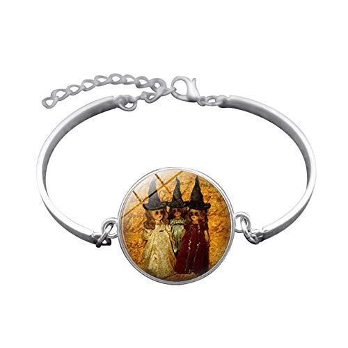 Blisfille Handgemachte Halloween Hexe Zeit Gem Armband Silber-Legierung Armband Armband Herren Damen Fest