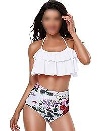 Abbigliamento sportivo Bambine e ragazze LAPLBEKE Ragazze Bambini Costumi da Bagno Bambina Due Pezzi Bikini Solido Halter Costumi da Bagno