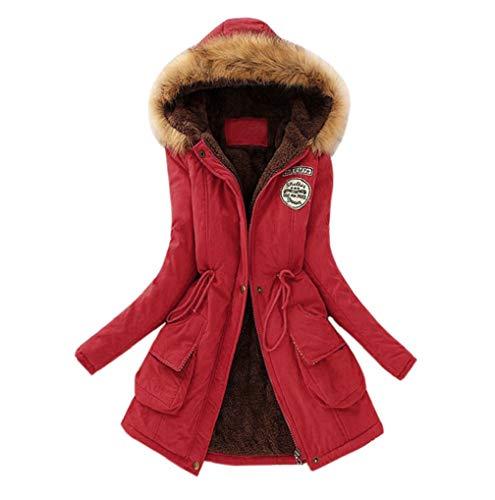 FNKDOR Manteau À Long Femmes Hiver Chaud Manteaux Col De Fourrure À Capuche Veste d'hiver Slim Parka Outwear (Rouge,FR(Buste)-46/CN-2XL)