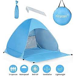 Kratax Tente Plage Pop UP Plage de Parasol Protection UV pour 3-4 Personnes Ouverture Instantanée Léger à Porter pour Plage Palco Jardin