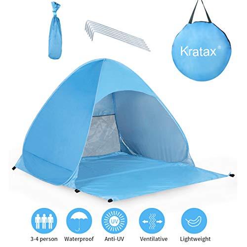 Kratax Tenda da Spiaggia Pop UP Parasole Spiaggia Protezione UV per 3-4 Persone Apertura Istantanea Leggero da Portare per Spiaggia Palco Giardino