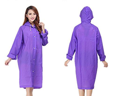 Fakeface - Impermeabile anti-pioggia traslucido donna, trasportabile, con cappuccio, a maniche lunghe, riutilizzabile per viaggi, escursioni, ciclismo, motociclismo Translucent Purple