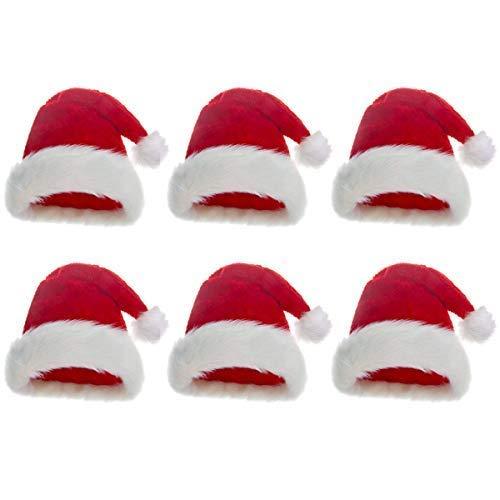 Robelli Plüsch Filz Rot Weihnachten Weihnachtsmann-Mützen - 6 Packung