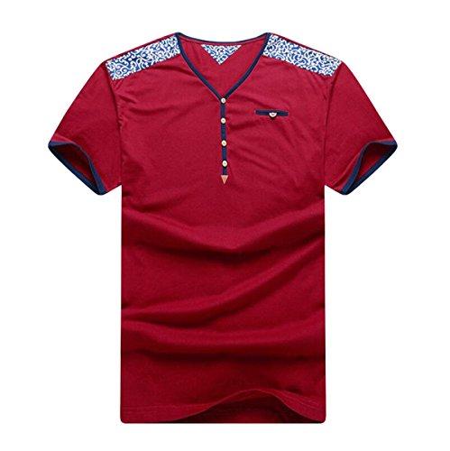 Männer Sommer Lose Kurzhülse Home Freizeit Groß Lässig V-Ausschnitt Kurzarm T-Shirts Red