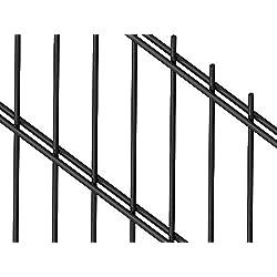 Doppelstabmattenzaun | Gartenzaun | Komplettset | 163cm hoch | verzinkt und pulverbeschichtet (25m, Anthrazit (RAL 7016))