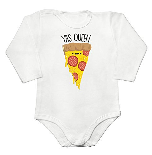 Yas Queen Adorable Slice Of Pizza Baby Long Sleeve Romper Bodysuit Babyspielanzug Extra Large (Champignons Weiße 15)
