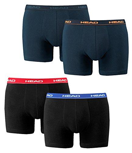 HEAD Herren Boxershorts 841001001 4er Pack, Wäschegröße:M;Artikel:1x2erPack Rot/Blau/Schwarz 1x2erPack Peacoat/Orange/dunkelbau