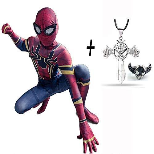 Muster Iron Kostüm Mann - Eisen Spiderman Cosplay Kostüm Avengers 3 Infinite War Kinder Jumpsuit Strumpfhose Requisiten Halloween + Kreuz Halskette Und Spiderman Ring,100
