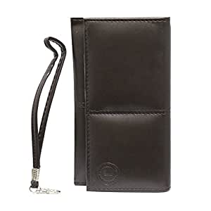 Jo Jo A5 G12 Leather Wallet Universal Pouch Cover Case For Lava Iris Pro 30+ Brown