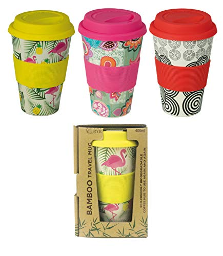 FACTORYCR Vaso Bamboo 480 ML/ 100% Biodegradable 3 Colores Infantil,, 5.5X14.5X5.5 cm (000579449)