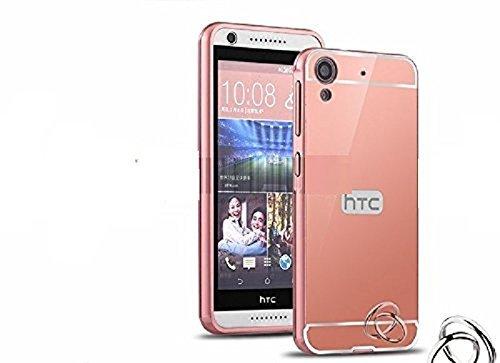 HTC Desire 816 Luxury Aluminium Bumper With Mirror Acrylic Back Cover - Rose Gold