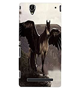 ColourCraft Horse with Feathers Design Back Case Cover for SONY XPERIA T2 ULTRA DUAL D5322