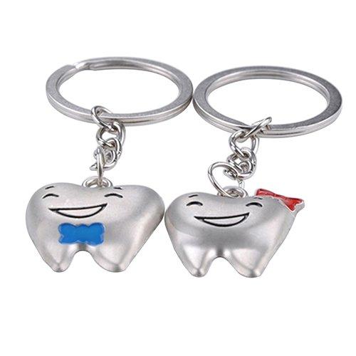 Shangwelluk 1 paio carino portachiavi coppia forma del dente delle coppie dell'amante staccabile auto portachiavi uomo donna amore ad anello, per inviare la sua fidanzata
