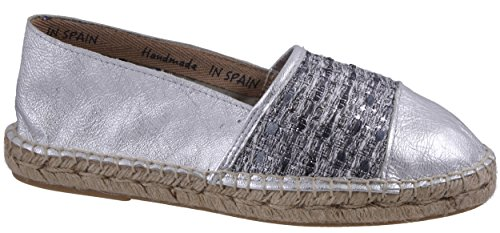 BLACK Damen 242 472 Espadrilles, Silber (Silver), 40 EU