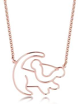 Disney Couture König der Löwen Klassische Halskette, Motiv: Umriss von dem Löwen Simba, Rosé vergoldet