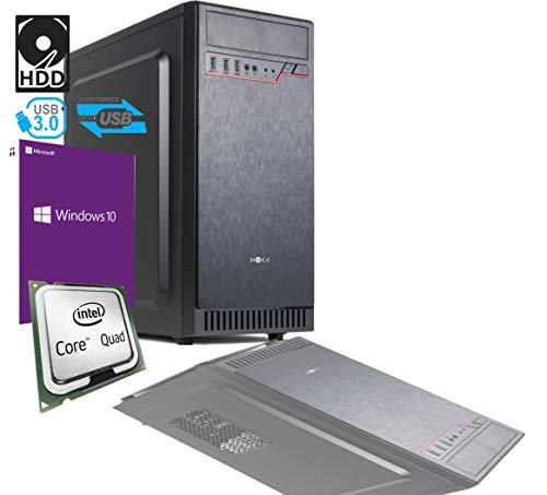 PC DESKTOP INTEL QUAD CORE 242 ghz CON LICENZA WINDOWS 10 PRO 64BIT ORIGINALE RAM 4GB HD 500GB MB MICRO ATX CON HDMI DVI VGA USB 500W COMPLETO