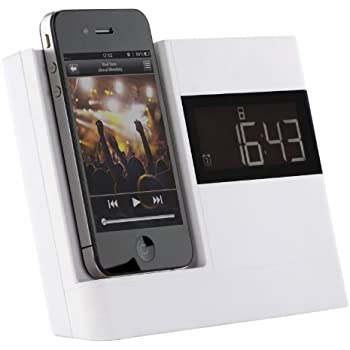 ba5c90826 KitSound XDOCK Clock Radio Dock for 30-Pin Connector iPod and iPhone  4S/4/3GS/3G, iPod Nano 5th Generation and iPod Touch 4th Generation - White
