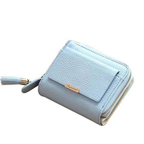 Woolala Donna Piccolo Di Cuoio Portafoglio Compatto Titolare Card Contanti Con Pocket Lampo Borsa Corto, Blu Blu
