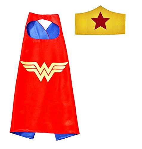 ♛ 3-6 Jahre - Set Kostüm Verkleidung Karneval und Halloween von Wunder Woman Super Held Frau Farbe rot Maske Mantel weibliches Kind (Wonder Woman Kostüm Baby)