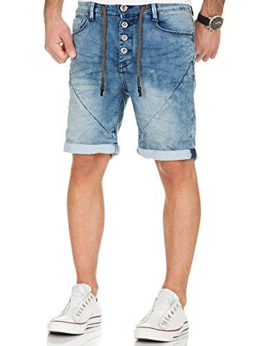 Sublevel Herren Jogg Jeans Shorts kurze Hose Bermuda Denim Sweatpants Joggjeans Vintage Used Look