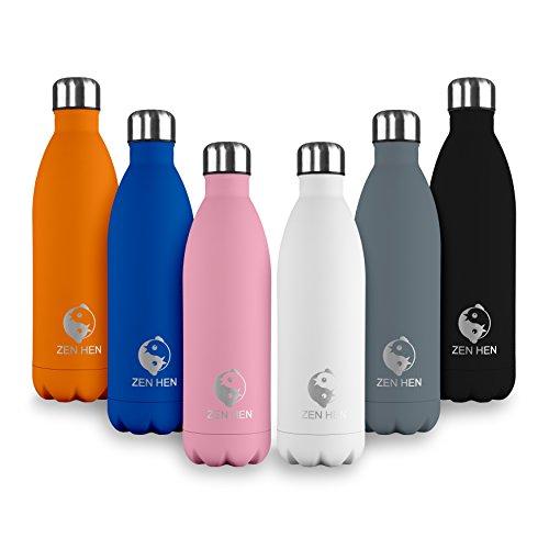 ZenHen Flasche - Vakuumisolierte, Doppelwandige Trinkflasche & Wasserflasche aus hochwertigem Edelstahl. 24 Stunden kühl & 12 Stunden warm, 500, 750ml 1l (Orange, 500ml) -
