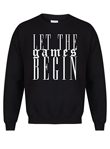Kelham Print Unisex Slogan Sweater Jumper Let The Games Begin Black X Large with White