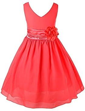 FEESHOW Vestido Elegantes de Encaje Niñas Con Flor sin manga Fiesta Boda de dama de honor princesa SZ 2años-14años