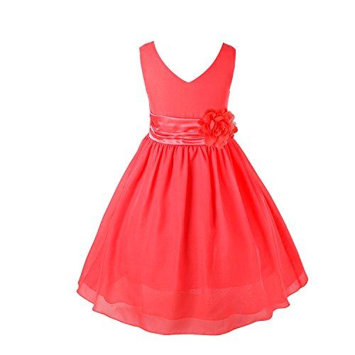 YiZYiF Blumenmaedchenkleider Kinder Mädchen Prinzessin Kleid für Brautjungfern Hochzeits Chiffon Sommer Festzug Wassermelonen Rot - 6(Asien), (Kostüme Wassermelone Mädchen)
