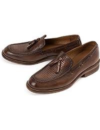 Yao Zapatos de Hombre de Cuero Genuino con Cordones Borla Bullock Oxfords Zapatos Oxford Retro Masculinos Retros para Hombres (Color : Red,…