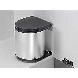 Wesco Poubelle de cuisine ronde orientable à fixer sur porte de placard Argenté 40cm 15l