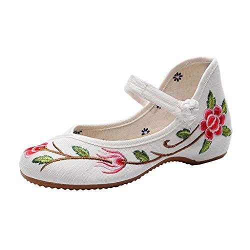 LILIHOT Der Frühlings- und Sommersegeltuchschnalle der großen Blume nationalen Wind bestickte Schuhe Pantoletten Damen Sommer Slipper Espadrilles Hausschuhe Flache Schuhe (Jungen Schuhe Erstkommunion)