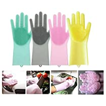 Spartan Silicon Dishwashing Gloves with Wash Scrubber, Cleaning Gloves Scrubbing Gloves For Dishes Heat Resistant and Reusable For Kitchen, Bathroom Cleaning (Pair of 1, Multicolor)