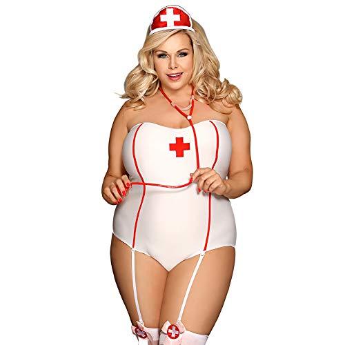 HJG Krankenschwester Anzug und Cosplay Uniform Versuchung, Frau sexy Krankenschwester Dessous, Naughty Girl, große Größe, elastischer Stoff,XXXL (Naughty Krankenschwester Kostüm)