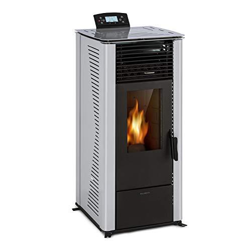 electronic star Waldbeck Energiewende poêle d'ambiance à pellets : 5/10 KW, 5 Niveaux de Puissance/5 Vitesses, minuterie programmable, capacité: 18 kg, consommation de pellets: 0,6-2,0 kg/h, Gris