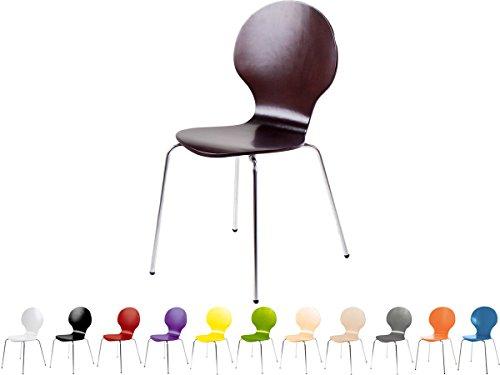 Stapelstuhl Bistrostuhl Stuhl Esszimmerstuhl Küchenstuhl Design Metall Holz stapelbar sehr belastbar Marcus (Wenge)