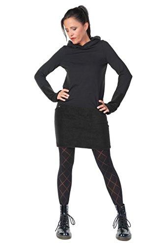 Plus Size Steampunk Kleid (Hoodie Kleid Damen Winter Kapuzenkleid Frauen Baumwolle Sweatshirtkleid Daumenloch Gothic Steampunk 3 Elfen, schwarz Fleece)