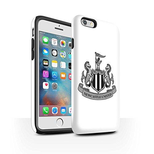 Offiziell Newcastle United FC Hülle / Glanz Harten Stoßfest Case für Apple iPhone 8 Plus / Mono/Schwarz Muster / NUFC Fußball Crest Kollektion Mono/Weiß