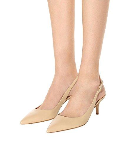 EDEFS Damen Kitten-Heel Slingback Pumps Spitze 6.5cm Mittlerer Absatz Pointed Toe Schuhe Beige