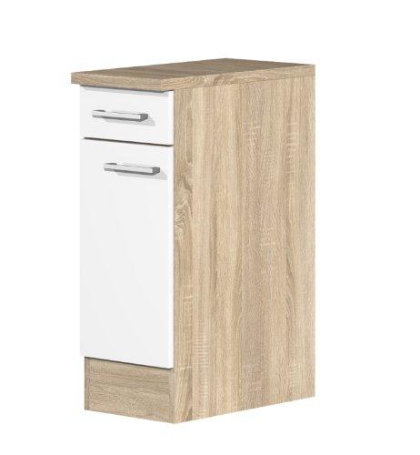 smartmoebel Küchen Unterschrank 30 cm breit Weiß Sonoma Eiche - Salerno