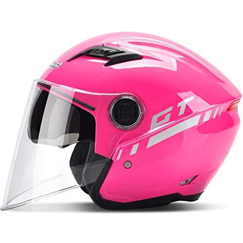 NJ casco- Casco moto elettrico maschile batteria auto femminile quattro stagioni inverno mezzo casco mezzo copriobiettivo doppio anti-nebbia (colore : H.-One size)
