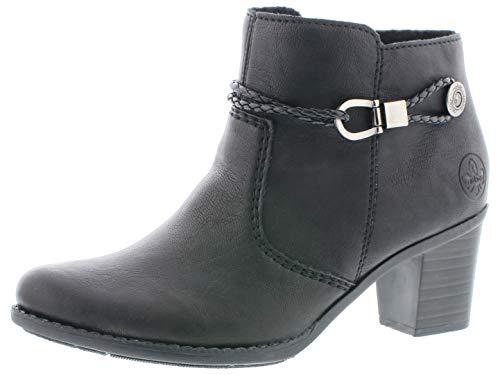 Rieker Damen Ankle Boots L7669,Frauen Stiefel,Ankle Boot,Halbstiefel,Damenstiefelette,Bootie,knöchelhoch,Trichterabsatz 5.7cm,schwarz, EU 38