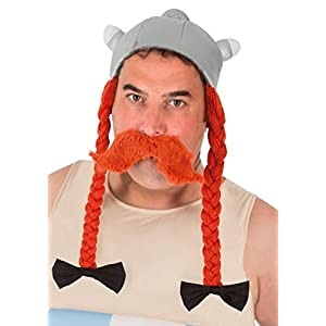 Obelix-Helm mit Zöpfen Asterix und Obelix-Lizenz grau-orange