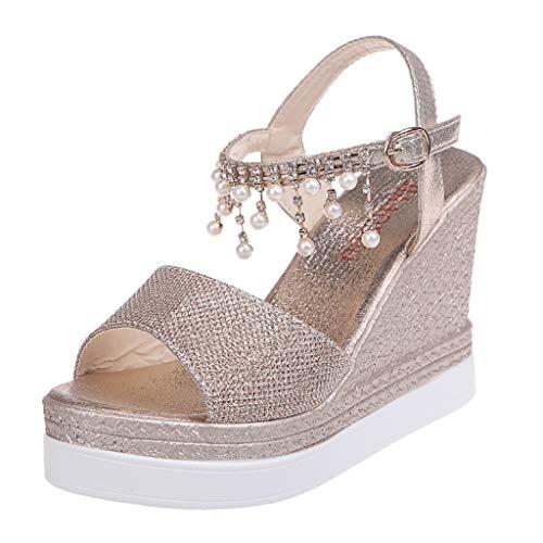 Damen Sommer Sandalen Mit Absatz Elegant Wedge Sandaletten Keilabsatz RöMer Buckle Strap High Heel Platform Peep Toe Sandals Schuhe Schwarz Shoes Strap Platform Schuhe