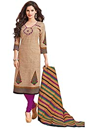 Baalar Women's Cotton Dress Material (1418_Free Size_beige)