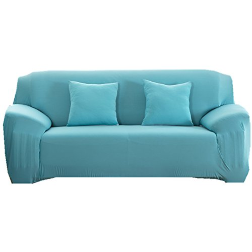 Sofa Bezug 1234-Sitzer-Stoffüberwurf, Schonbezug, elastischer Überwurf für Sofa, Sessel, Couch zum Schutz, Farbe: pure, blau, 2 Seater:145-185cm (Blaue Couch)