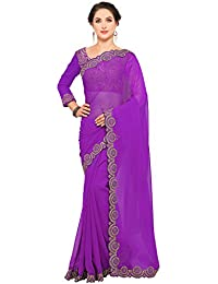 Bhavna Creation Women's Georgette Purple Saree ( Purple_jumkha)