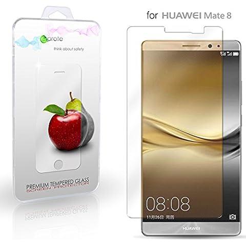 Huawei Mate 8 Cristal Protector de pantalla, eProte® Vidrio Templado para Huawei Ascend Mate8, 6.0 pulgadas - Dureza del vidrio 9H, Anti-golpe, Anti-rayado, Revestimiento oleofóbico, anti-huellas dactilares, Fácil de limpiar, Transparencia HD y Delicado al tacto, Espesor óptimo de 0.33 mm, los bordes redondeados de 2.5D